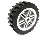 Wheel 30mm D. x 14mm with Black Tire 43.2 x 14 Offset Tread  56904 / 56898 , White (56904c01)