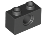 Technic, Brick 1 x 2 with Hole, Black (3700 / 370026)
