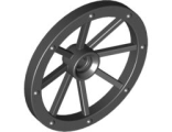 Wheel Wagon Large 33mm D., Hole Notched for Wheels Holder Pin, Black (4489b / 4636280)