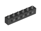 Technic, Brick 1 x 6 with Holes, Black (3894 / 389426)