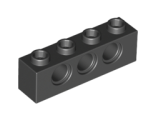 Technic, Brick 1 x 4 with Holes, Black (3701 / 370126)