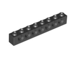Technic, Brick 1 x 8 with Holes, Black (3702 / 370226)