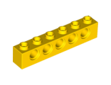 Technic, Brick 1 x 6 with Holes, Yellow (3894 / 389424)