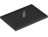 Train Bogie Plate (Tile, Modified 6 x 4 with 5mm Pin), Black (4025 / 402526 / 6051914 / 6096842)