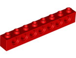 Technic, Brick 1 x 8 with Holes, Red (3702 / 370221)