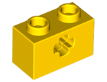 Technic, Brick 1 x 2 with Axle Hole, Yellow (32064 / 4114668 / 4142866 / 4216823 / 4233484 / 6206240)