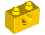 Technic, Brick 1 x 2 with Hole, Yellow (3700 / 370024)