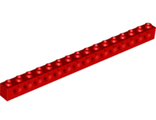 Technic, Brick 1 x 16 with Holes, Red (3703 / 370321)