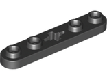 Technic, Plate 1 x 5 with Smooth Ends, 4 Studs and Center Axle Hole, Black (32124 / 4114689)