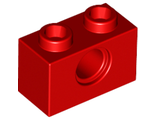 Technic, Brick 1 x 2 with Hole, Red (3700 / 370021)
