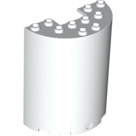 Cylinder Half 3 x 6 x 6 with 1 x 2 Cutout, White (87926 / 4569476 / 6248479)
