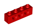 Technic, Brick 1 x 4 with Holes, Red (3701 / 370121)