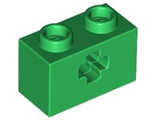 Technic, Brick 1 x 2 with Axle Hole, Green (32064 / 4113840 / 4233489 / 6206248)