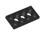 Technic, Plate 2 x 4 with 3 Holes, Black (3709b / 370926)