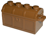 Container, Treasure Chest, Complete Assembly - Thick Hinge, Slots in Back, Reddish Brown (4738ac01)
