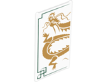 Glass for Window 1 x 4 x 6 with Dark Green Lines and Gold Dragon Head and Midsection on White Background Pattern, Trans-Clear (57895pb023 / 6075631)