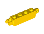 Hinge Brick 1 x 4 Locking with 1 Finger Vertical End and 2 Fingers Vertical End, Yellow (30387 / 4144568 / 4218728)