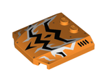 Wedge 4 x 4 x 2/3 Triple Curved with Black and White Lightning Pattern, Orange (45677pb078 / 6103469)