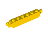 Hinge Brick 1 x 6 Locking with 1 Finger Vertical End and 2 Fingers Vertical End, Yellow (30388 / 4144579 / 4218725)