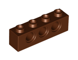 Technic, Brick 1 x 4 with Holes, Reddish Brown (3701 / 4267994)