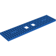 Train Base 6 x 28 with 2 Square Cutouts and 3 Round Holes Each End, Blue (92339 / 6058179)