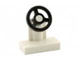 Vehicle, Steering Stand 1 x 2 with Black Steering Wheel, White (3829c01 / 9551)