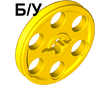 ! Б/У - Technic Wedge Belt Wheel (Pulley), Yellow (4185 / 418524 / 4494224) - Б/У
