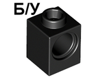 ! Б/У - Technic, Brick 1 x 1 with Hole, Black (6541 / 654126) - Б/У