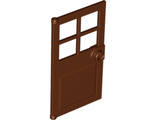 Door 1 x 4 x 6 with 4 Panes and Stud Handle, Reddish Brown (60623 / 4645935 / 6103769)