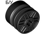 ! Б/У - Wheel 18mm D. x 14mm with Axle Hole, Fake Bolts and Shallow Spokes, Black (55982 / 4517737) - Б/У