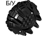 ! Б/У - Wheel Hard Plastic with Small Cleats and Flanges, Black (64712 / 4538782) - Б/У