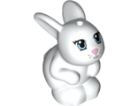 Bunny / Rabbit, Friends, Sitting with Bright Light Blue Eyes, Bright Pink Nose and Mouth and Black Whisker Dots Pattern Daisy, White (98387pb01 / 4648075 / 6017059)