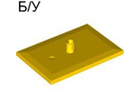 ! Б/У - Train Bogie Plate (Tile, Modified 6 x 4 with 5mm Pin), Yellow (4025 / 4556785 / 6051861 / 6086730) - Б/У