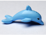 Dolphin, Friends / Elves, Jumping with Bottom Axle Holder with Medium Azure Eyes Pattern, Bright Light Blue (13392pb01 / 6034425)